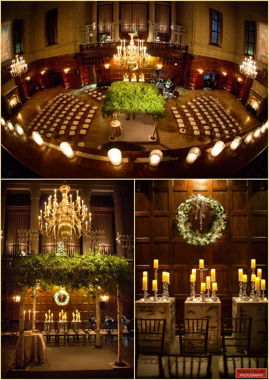 Harvard Hall Wedding Ceremony Decor
