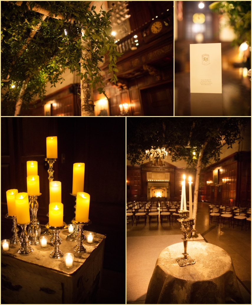 Harvard Hall Wedding Ceremony Decor by Marc Hall Design