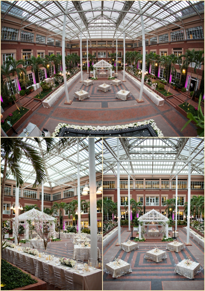 Atrium Garden Inspired Wedding Reception at Meditech Canton MA with Marreo Events