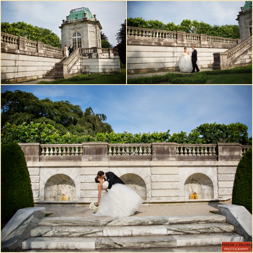 Bride And Groom Kiss At The Elms Bellevue Avenue Newport Rhode Island