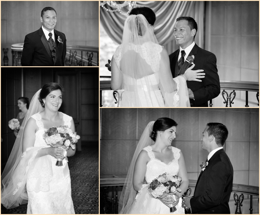 Four Seasons Hotel Boston Wedding - First look bride and groom