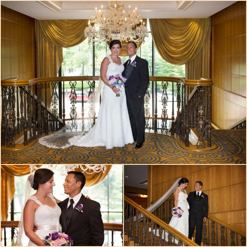Four Seasons Hotel Boston Wedding - Grand staircase portraits