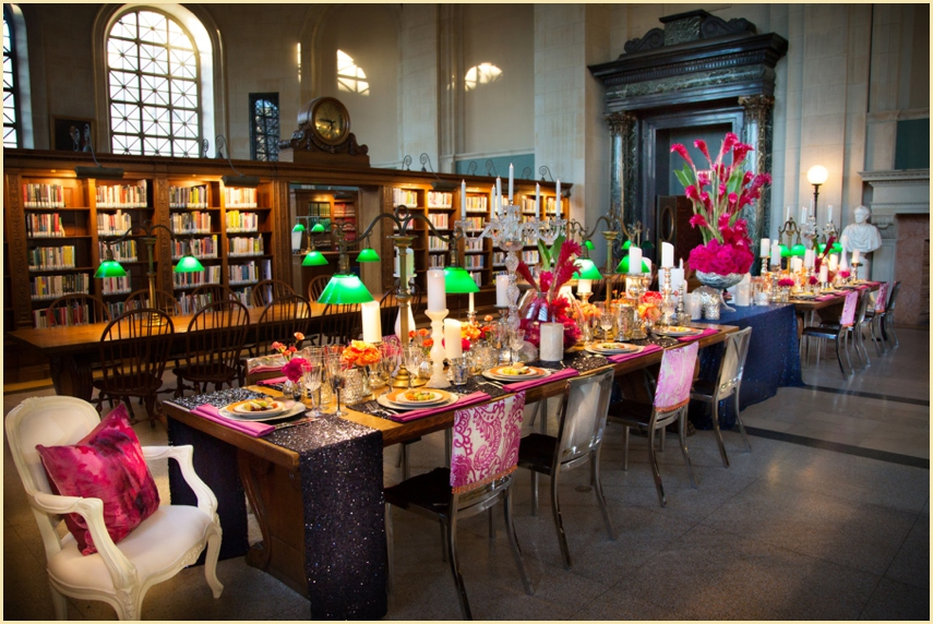 Boston Public Library Tabletop Photoshoot with The Catered Affiar featured in Southern New England Weddings 2015