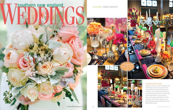 Boston Public Library Photoshoot Fetured in Southern New England Weddings Magazine with The Catered Affair