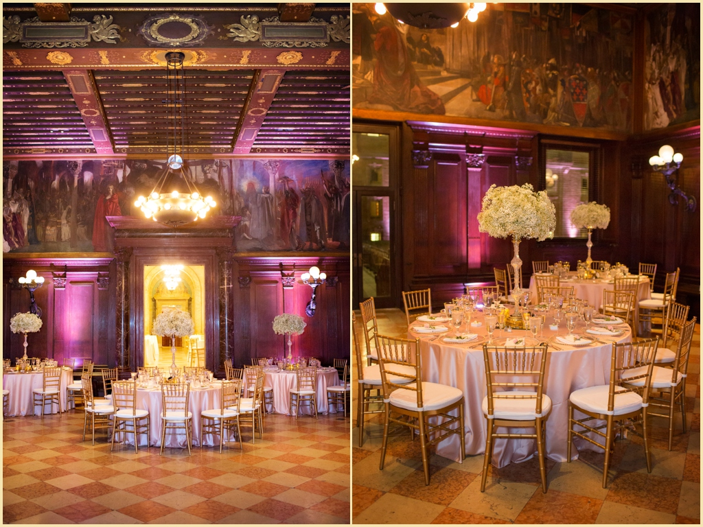 Reception at the Boston Public Library Summer Wedding