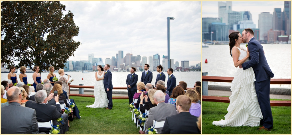 Boston Harbor Wedding Ceremony Portraits