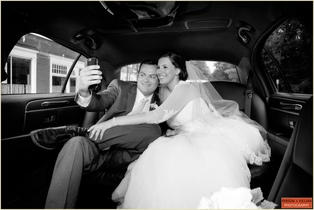 boston wedding couple taking a selfie