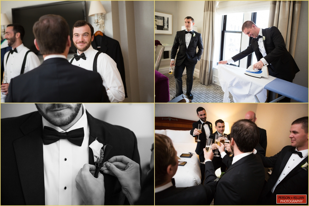 Fairmont Copley Plaza Boston Wedding Rafanelli Events Groomsmen Candid Photographs