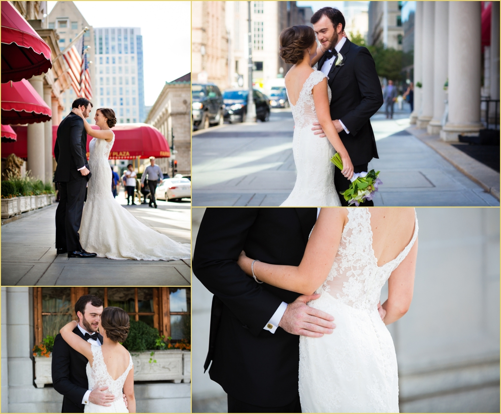 Fun and Casual First Look Bride and Groom at the Fairmont Copley Plaza Boston with Rafanelli Events