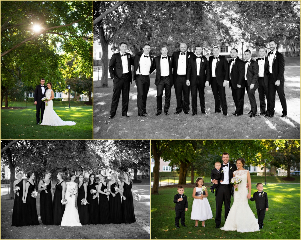 Wedding Party Portraits on the Boston College Campus with Rafanelli Events