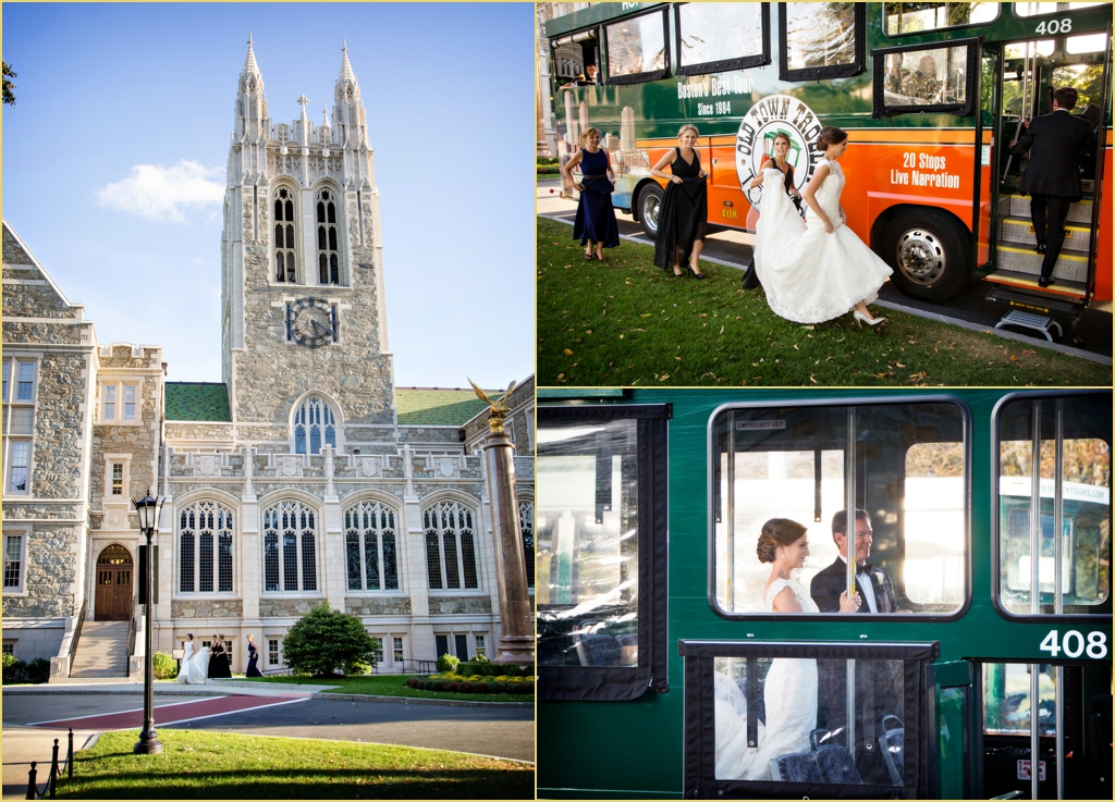 Boston College Campus Wedding Party Photographs from Person Killian Photography
