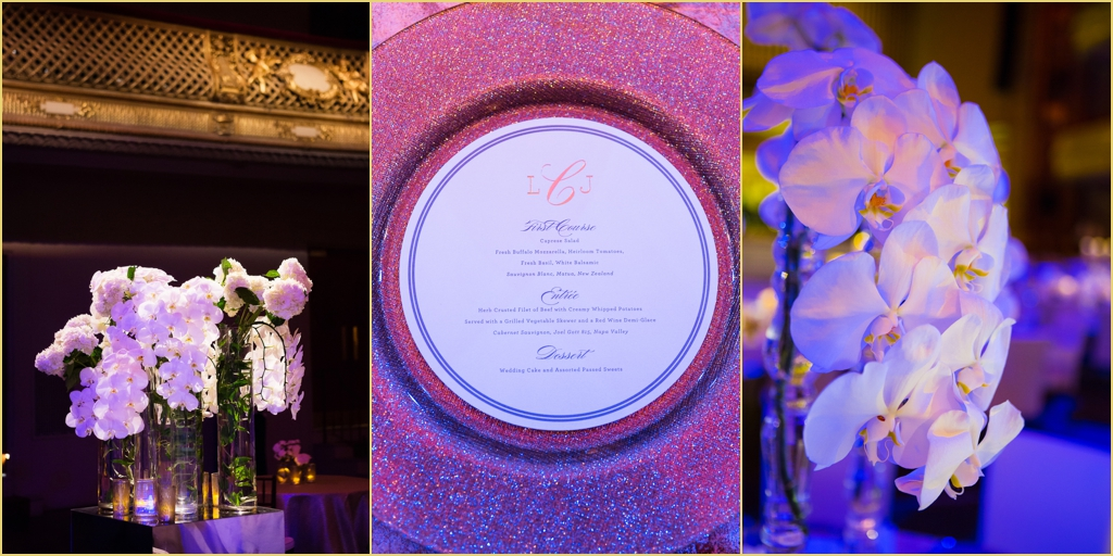 Winston Flowers and BBJ Linen Chargers at boston symphony orchestra Rafanelli Events Wedding
