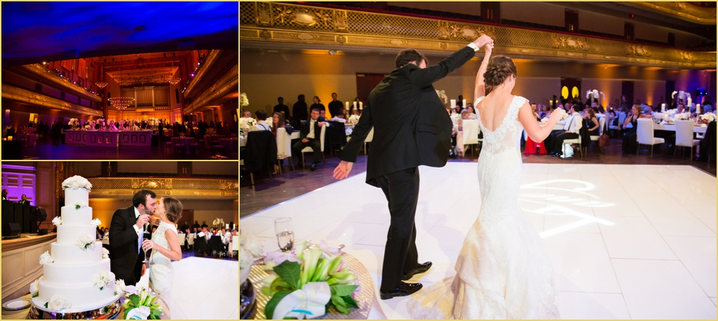Wedding Celebration at the boston symphony orchestra with Rafanelli Events Wedding Cakes to Remember