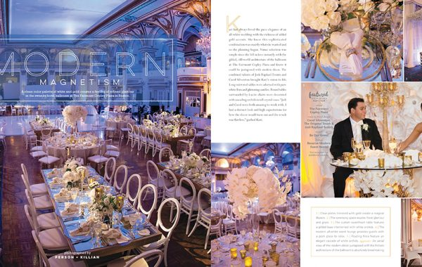 Fairmont Copley Plaza Real Wedding Feature in Bliss Celebrations Magazine