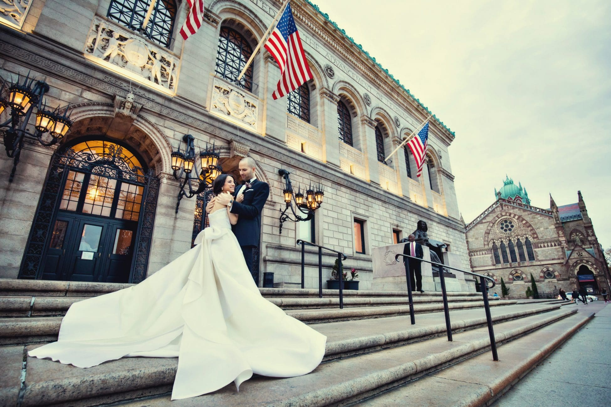 Photograph of Married Couple in Front of the Boston Public Library